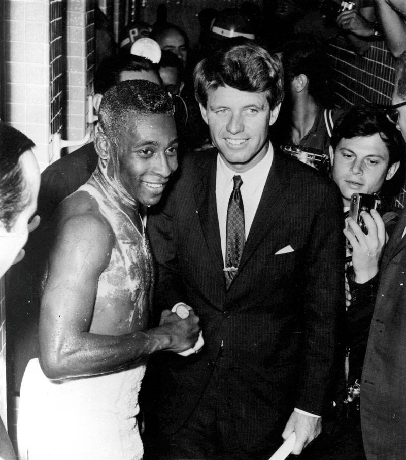 21 NOV 1965:  PELE SEEN SHAKING HANDS WITH ROBERT KENNEDY AT THE MARACANA AFTER BRAZIL HAD PLAYED THE USSR. Mandatory Credit: Allsport Hulton/Archive