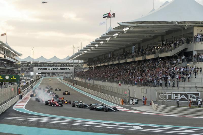 Abu Dhabi, United Arab Emirates, November 26, 2017:   Abu Dhabi Formula One Grand Prix at Yas Marina Circuit in Abu Dhabi on November 26, 2017. Christopher Pike / The National  Reporter: John McAuley, Graham Caygill Section: Sport