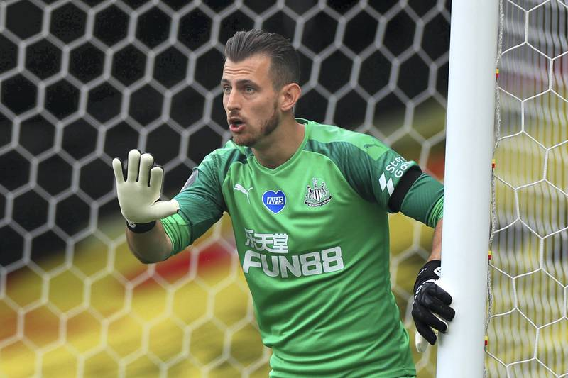 Newcastle United's Slovakian goalkeeper Martin Dubravka gestures during the English Premier League football match between Watford and Newcastle at Vicarage Road Stadium in Watford, north of London on July 11, 2020. (Photo by MIKE EGERTON / POOL / AFP) / RESTRICTED TO EDITORIAL USE. No use with unauthorized audio, video, data, fixture lists, club/league logos or 'live' services. Online in-match use limited to 120 images. An additional 40 images may be used in extra time. No video emulation. Social media in-match use limited to 120 images. An additional 40 images may be used in extra time. No use in betting publications, games or single club/league/player publications. /