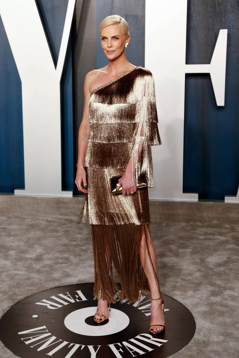 epa08208381 Charlize Theron attends the 2020 Vanity Fair Oscar Party following the 92nd annual Academy Awards ceremony, in Beverly Hills, California, USA, 09 February 2020. The Oscars were presented for outstanding individual or collective efforts in filmmaking in 24 categories.  EPA-EFE/RINGO CHIU
