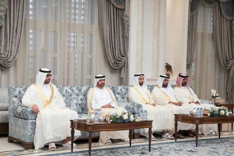 ABU DHABI, UNITED ARAB EMIRATES - August 21, 2018: HH Sheikh Rashid bin Saud bin Rashid Al Mu'alla, Crown Prince of Umm Al Quwain (L), HH Sheikh Abdullah bin Salem Al Qasimi, Deputy Ruler of Sharjah (2nd L), HH Sheikh Mohamed bin Saud bin Saqr Al Qasimi, Crown Prince and Deputy Ruler of Ras Al Khaimah (3rd L), HH Sheikh Mohamed bin Hamad Al Sharqi, Crown Prince of Fujairah (4th L) and HH Sheikh Ammar bin Humaid Al Nuaimi, Crown Prince of Ajman (R), hosts an Eid Al Adha reception at Mushrif Palace.  ( Mohamed Al Hammadi / Crown Prince Court - Abu Dhabi ) ---