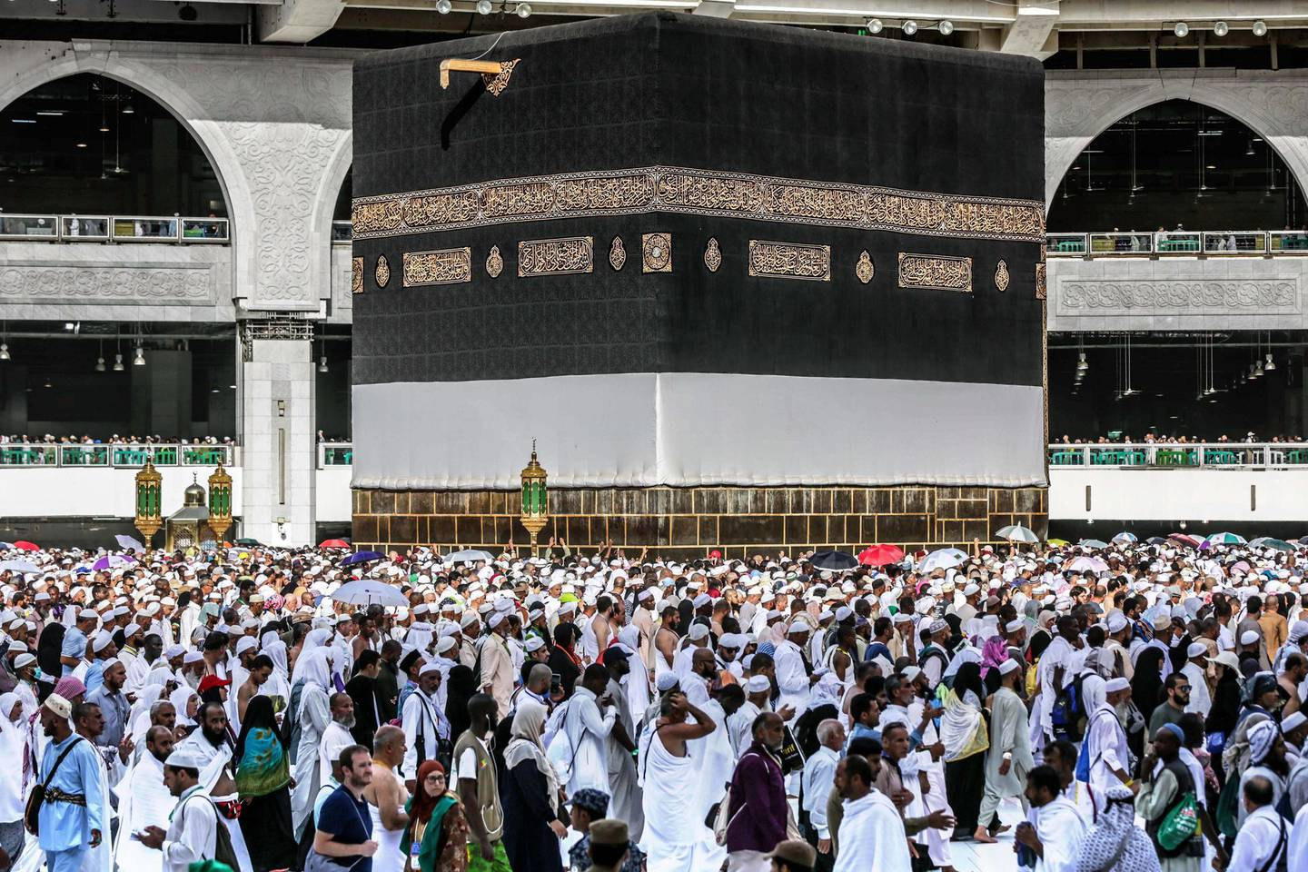 epa08251052 (FILE) - Muslim pilgrims perform Tawaf (circling) around the Kaaba inside the al-Haram al-Sharif mosque, in preparation of the start of the Hajj 2019 pilgrimage, Mecca, Saudi Arabia, 07 August 2019 (Reissued 26 February 2020). According to a statement on 26 February, Saudi Arabia has suspended religious tourism temporarily for the purposes of Umrah (a minor Islamic pilgrimage that can be done at any time of the year), as well as visiting the mosque of Prophet Muhammad, al-Masjid an Nabawi, in efforts to prevent the Covid-19 coronavirus in the Kingdom. Saudi Arabia is also suspending the entry of non-Saudi citizens coming from affected countries.  EPA/STR *** Local Caption *** 55383218