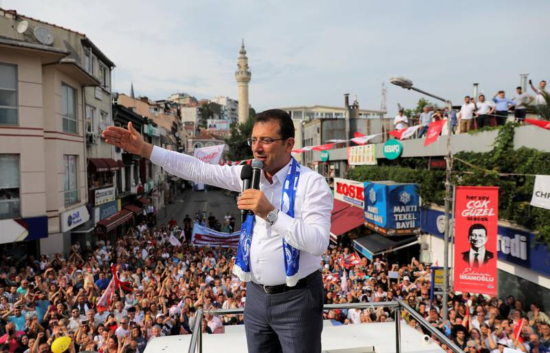 Main opposition Republican People's Party (CHP) mayoral candidate Ekrem Imamoglu addresses his supporters during an election rally in Istanbul, Turkey, June 21, 2019. REUTERS/Huseyin Aldemir