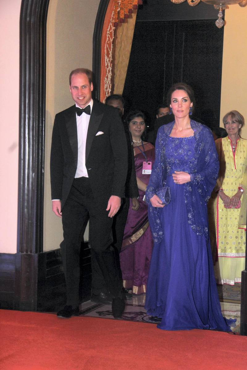 MUMBAI, INDIA - APRIL 10: Prince William, Duke of Cambridge, and Catherine, Duchess Of Cambridge, during Bollywood inspired charity gala dinner at Taj Palace Hotel on April 10, 2016 in Mumbai, India. (Photo by Pramod Thakur/Hindustan Times via Getty Images)