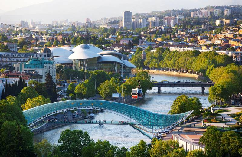 Georgia, Tbilisi, Bridge of Peace over Kura river