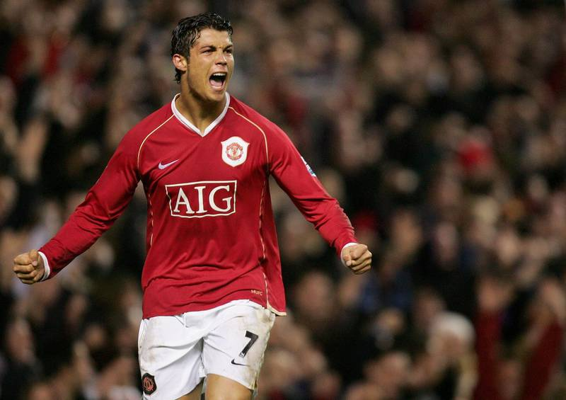 MANCHESTER, ENGLAND - DECEMBER 30: Cristiano Ronaldo of Manchester United celebrates scoring the fourth goal during the Barclays Premiership match between Manchester United and Reading at Old Trafford on December 30 2006 in Manchester, England. (Photo by Matthew Peters/Manchester United via Getty Images)