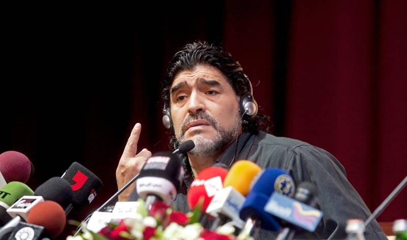Dubai - June 4, 2011 - Diego Maradona during the press conference where he was introduced as the new head football coach for Al Wasl Football Club at the Jumeirah Zabeel Saray Hotel on Palm Jumeirah in Dubai, June 4, 2011. (Photo by Jeff Topping/The National)