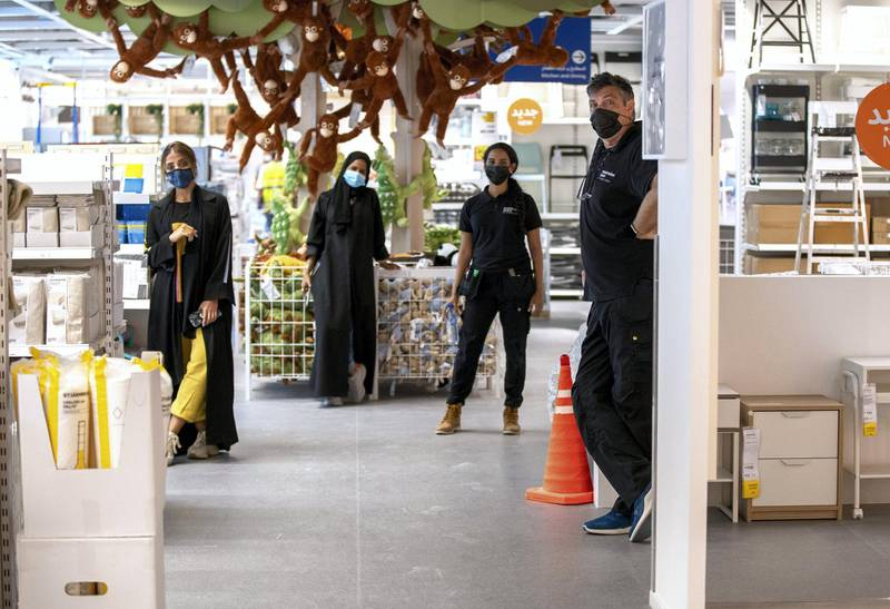 Abu Dhabi, United Arab Emirates, November 8, 2020.   A first look at the IKEA store at Al Wahda Mall before the opening on Tuesday, November 10.  IKEA store staff practice social distancing at the floor area.Victor Besa/The NationalSection:  LFReporter:  Farah Andrews