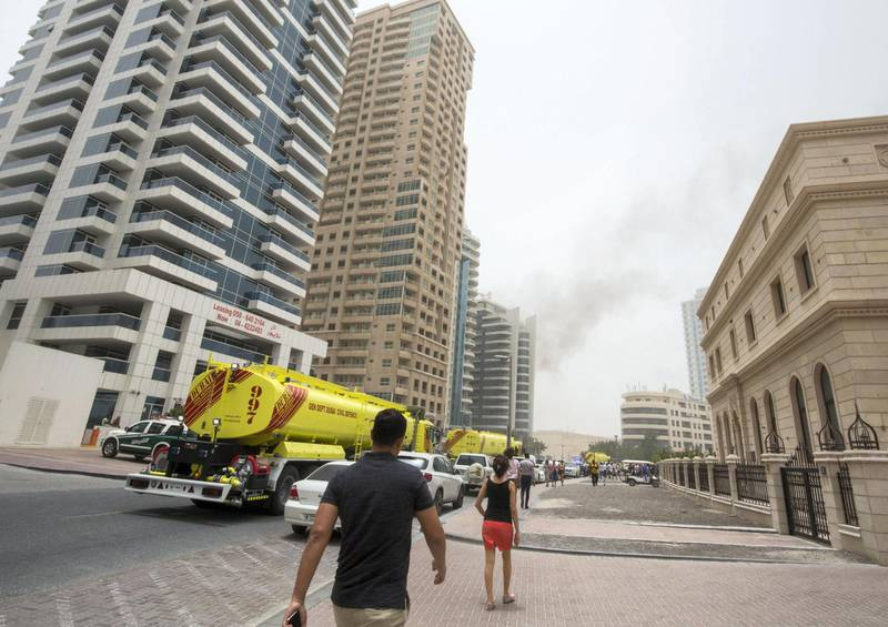 DUBAI, UNITED ARAB EMIRATES 13 MAY 2018 -Fire at Zen Tower in Marina, Dubai. Leslie Pableo for The National