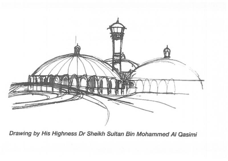 Sharjah ruler Dr Sultan bin Muhammad Al-Qasimi's sketch of Sharjah Airport. Courtesy Mel Stewart