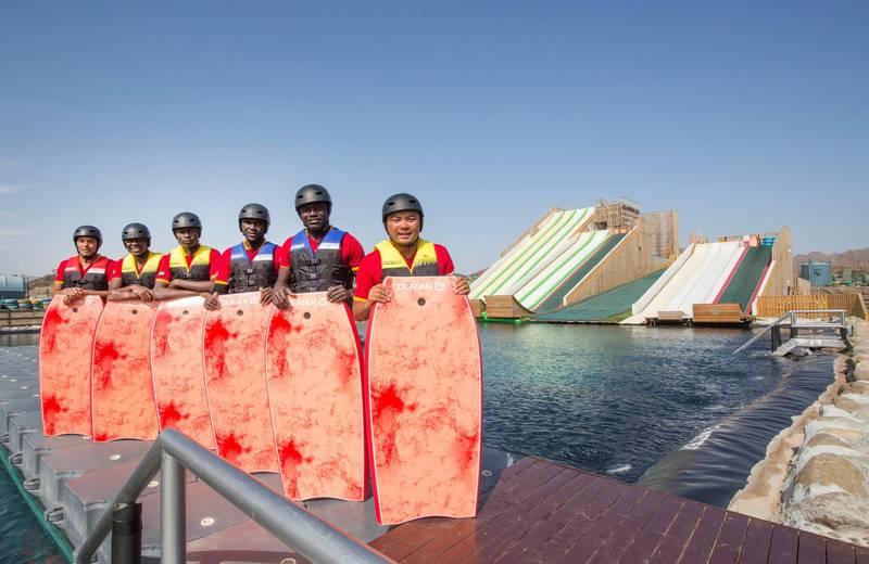 Hatta, United Arab Emirates - The crew of the newly opened dropin slide at Hatta Wadi Hub, Hatta, Dubai.  Leslie Pableo for The National