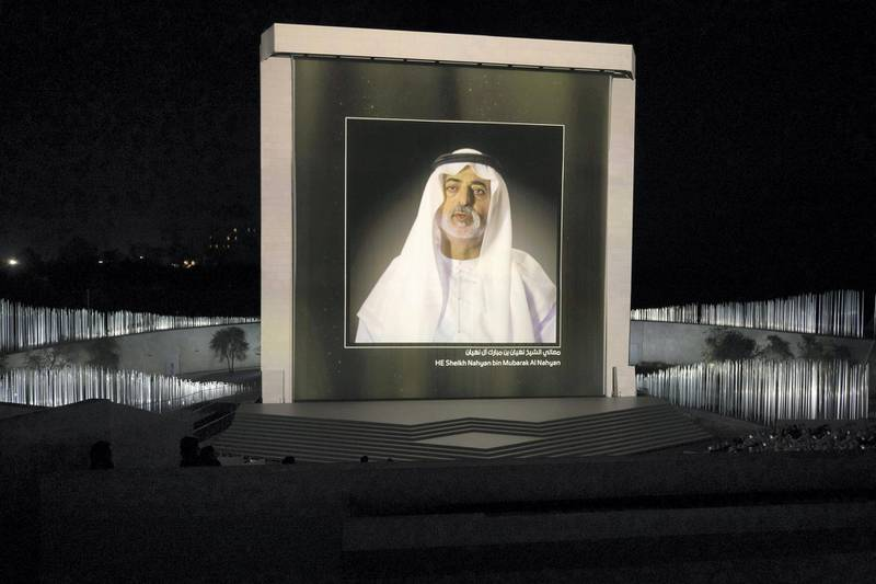 ABU DHABI, UNITED ARAB EMIRATES - February 26, 2018: A video interview with HH Sheikh Nahyan bin Mubarak Al Nahyan, UAE Minister of State for Tolerance is displayed during the inauguration of The Founder's Memorial.  (  Hamad Al Mansoori for The Crown Prince Court - Abu Dhabi ) ---