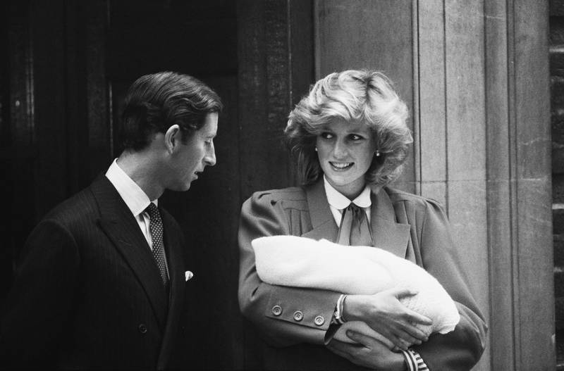 Charles, Prince of Wales and Diana, Princess of Wales (1961-1997) leave the Lindo Wing of St Mary's Hospital with their son Prince Harry, in Paddington, London, 16th September 1984. Harry had been born the previous day. (Photo by Ted Bath/Daily Express/Hulton Archive/Getty Images)