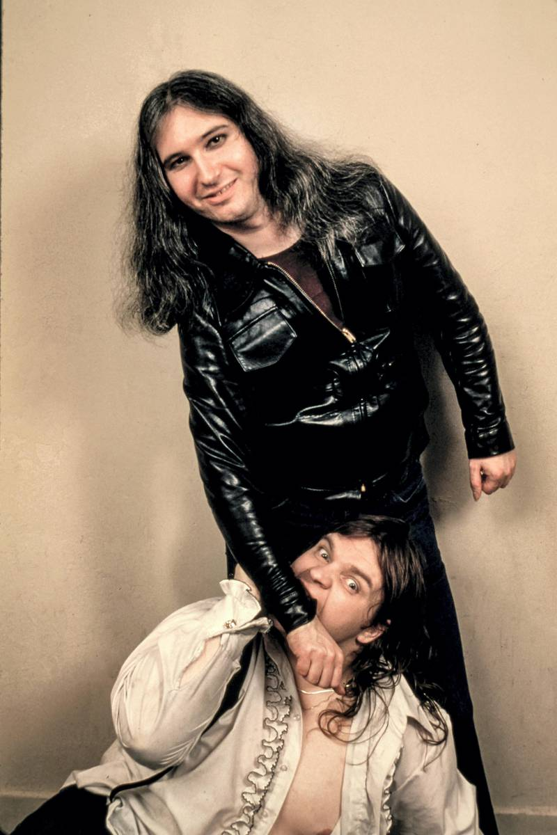 PHILADELPHIA - APRIL 6, 1978: Jim Steinmann and Meatloaf backstage at the Tower Theater in Philadelphia on April 6, 1978.(Ron Pownall/Getty Images)
