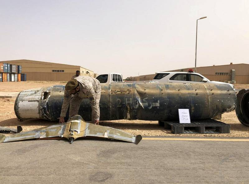 FILE PHOTO: A projectile and a drone launched at Saudi Arabia by Yemen'S Houthis are displayed at a Saudi military base, Al-Kharj, Saudi Arabia June 21, 2019. REUTERS/Stephen Kalin/File Photo