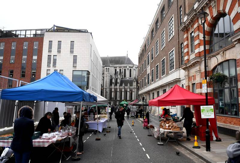 LONDON,ENGLAND  - MARCH 29: A general view of Marylebone Farmers Market on March 29, 2020 in London, England. The coronavirus (COVID-19) pandemic has spread to at least 182 countries, claiming over 30,000 lives and infecting hundreds of thousands more. (Photo by Alex Davidson/Getty Images)