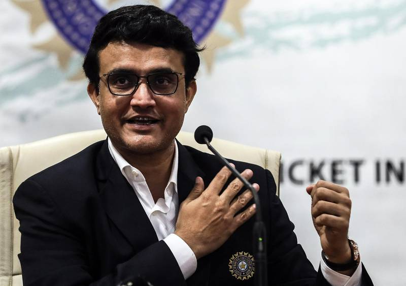 epa07942499 Former Indian cricket player Sourav Ganguly speaks to media during his first press conference after taking charge as President of the Board of Control for Cricket in India (BCCI), at BCCI head quarter in Mumbai, India, 23 October 2019.  EPA/DIVYAKANT SOLANKI