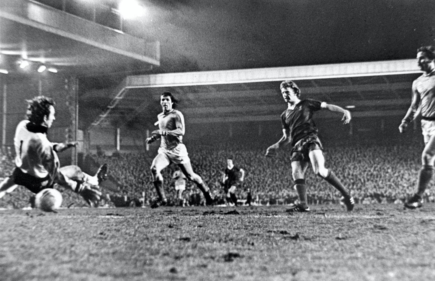 LIVERPOOL, ENGLAND - MARCH 16:  (THE SUN OUT)  David Fairclough of Liverpool who as the famous 'super sub' comes on and scores one of the most important goals in the club's history as he nets the final goal of the match to win the match and tie during the European Cup Quarter-Final Second Leg match between Liverpool and St Etienne held on March 16, 1977 at Anfield, in Liverpool, England. Liverpool won the match 3-1, winning the tie 3-2 on aggregate. (Photo by Liverpool FC via Getty Images)