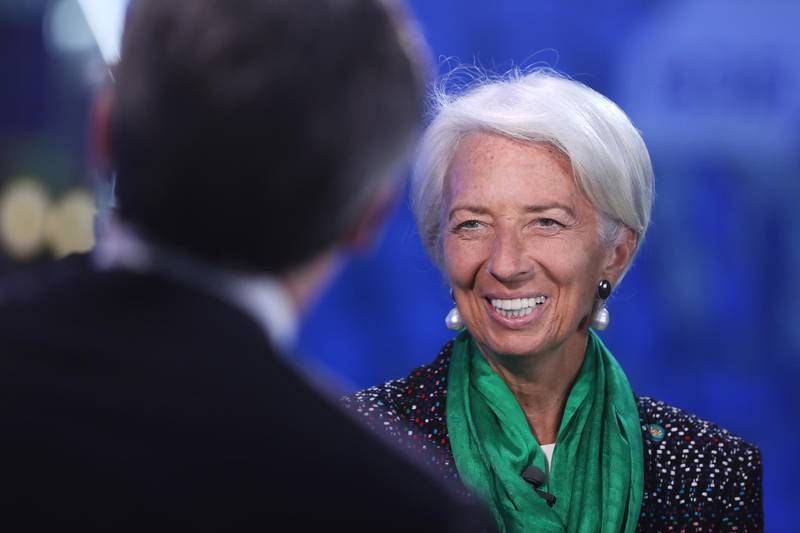 Christine Lagarde, managing director of the International Monetary Fund (IMF), speaks during a Bloomberg Television interview at the St. Petersburg International Economic Forum (SPIEF) in St. Petersburg, Russia, on Friday, May 25, 2018. The economic forum this year will be attended by PresidentVladimir Putin and French PresidentEmmanuel Macron, and panels include everything from how to do business in Russia to biotechnology and blockchain. Photographer: Chris Ratcliffe/Bloomberg