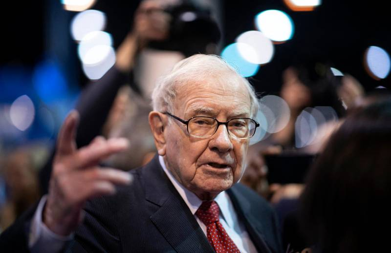 Warren Buffett, CEO of Berkshire Hathaway, speaks to the press as he arrives at the 2019 annual shareholders meeting in Omaha, Nebraska, May 4, 2019. (Photo by Johannes EISELE / AFP)