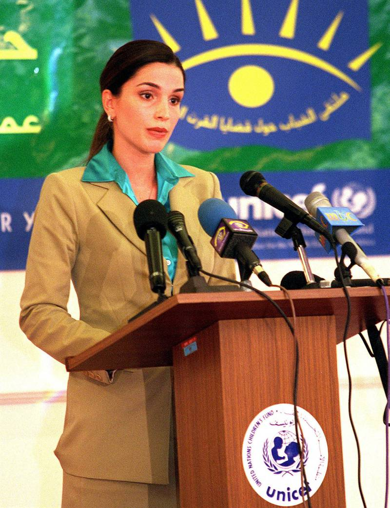 """381177 01: Queen Rania of Jordan speaks at a meeting for young people in Amman November 11, 2000 in Amman, Jordan. Around 70 young people from the middle east and north Africa gathered in Amman to voice their dreams,challenges and a """"Call for Action""""on youth issues in the region. (Salah Malkawi/Newsmakers)."""