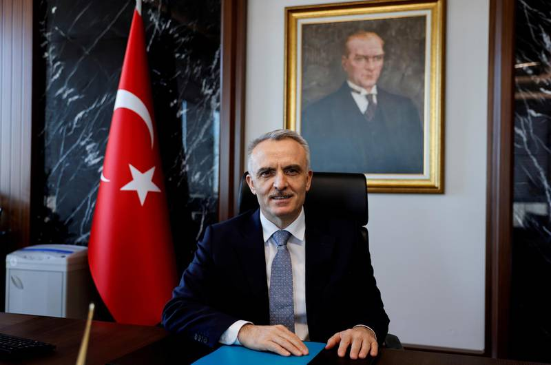 FILE PHOTO: Turkey's Central Bank Governor Naci Agbal poses during an interview with Reuters in his office in Istanbul, Turkey, February 4, 2021. REUTERS/Umit Bektas/File Photo