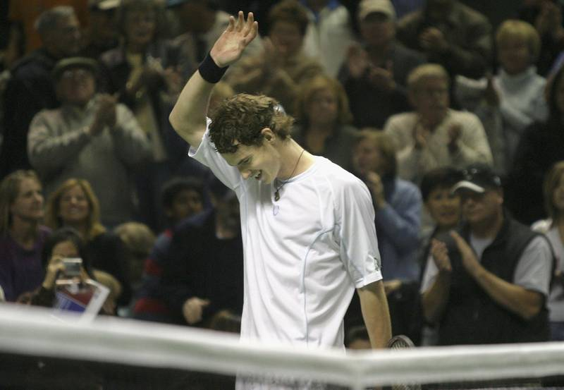 SAN JOSE, CA - FEBRUARY 19:   Andy Murray of Great Britain celebrates after winning his match against Lleyton Hewitt of Australia in the SAP Open at the HP Pavilion on February 19, 2006 in San Jose, California.  Murray, 18, is the youngest person to win the SAP Open since Michael Chang, at 16 years, in 1988..  (Photo by Sara Wolfram)