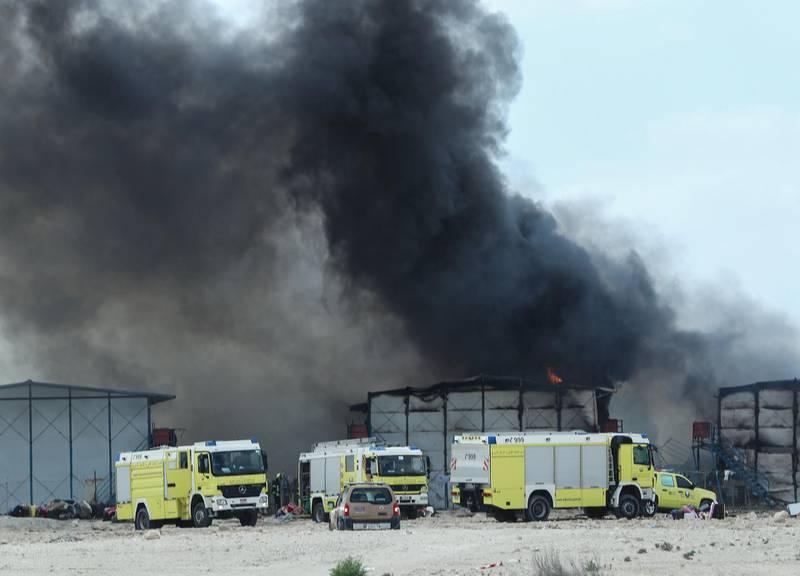 Abu Dhabi, U.A.E., January 17, 2018.   Fire at Al Reef area.National