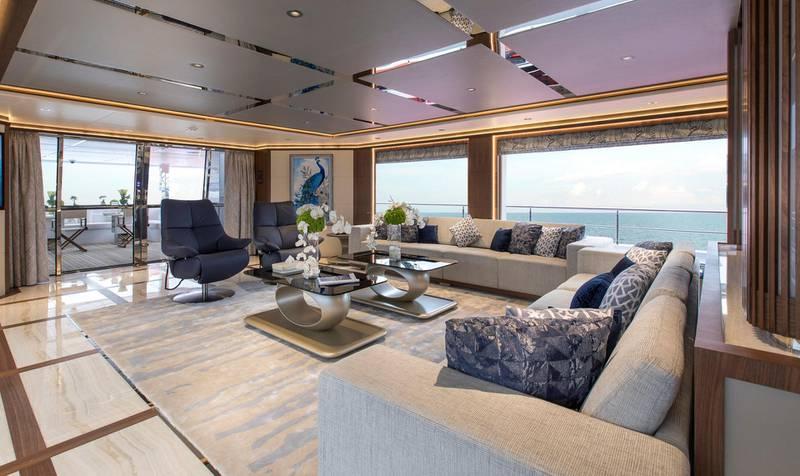Majesty 140 - Interior - Main Saloon. Courtesy: Seven Media