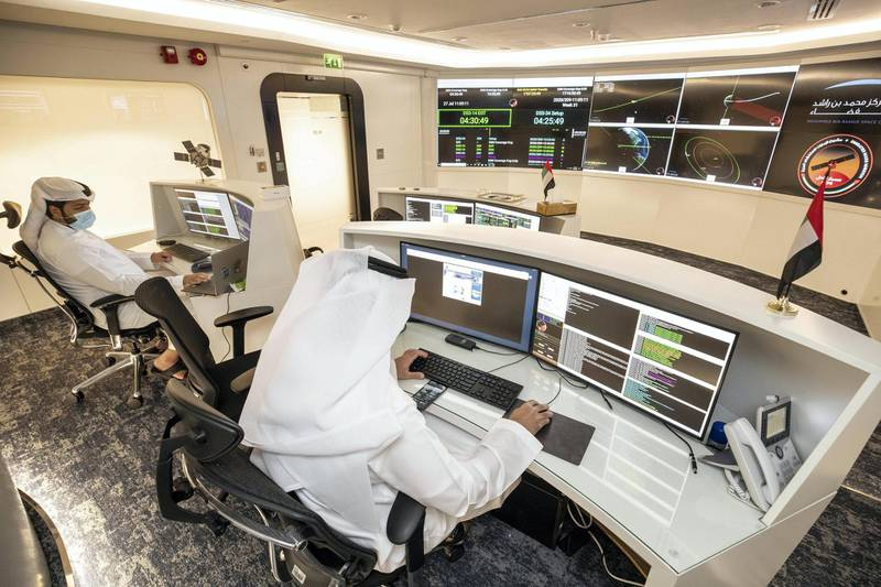 DUBAI, UNITED ARAB EMIRATES. 27 JULY 2020. MBRSC headquarters in Al Khawaneej. One week today since the Hope probe launched to Mars. LtoR: Mohammed Alblooshi, Flight Controller and Hamad Alhazami, Command and Control operator. (Photo: Antonie Robertson/The National) Journalist: Sarwat Nasir. Section: National.
