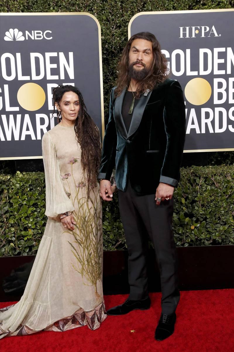 epa08106146 Jason Momoa and Lisa Bonet arrive for the 77th annual Golden Globe Awards ceremony at the Beverly Hilton Hotel, in Beverly Hills, California, USA, 05 January 2020.  EPA-EFE/NINA PROMMER
