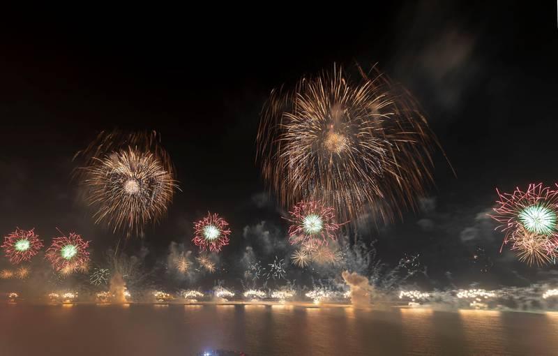 Ras Al Khaimah, United Arab Emirates - Reporter: N/A: Ras Al Khaimah puts on a record-breaking fireworks display on New Year's Eve. Tuesday, December 31st, 2019. Al Hamra, Ras Al Khaimah. Chris Whiteoak / The National