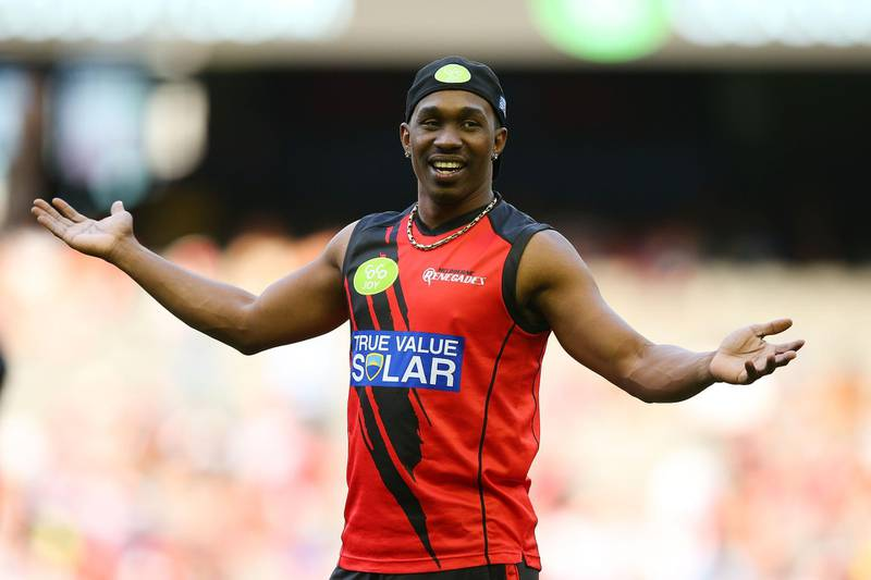 MELBOURNE, AUSTRALIA - JANUARY 18:  Dwayne Bravo of the Renegades smiles prior to the Big Bash League match between the Melbourne Renegades and the Adelaide Strikers at Etihad Stadium on January 18, 2016 in Melbourne, Australia.  (Photo by Graham Denholm/Getty Images)