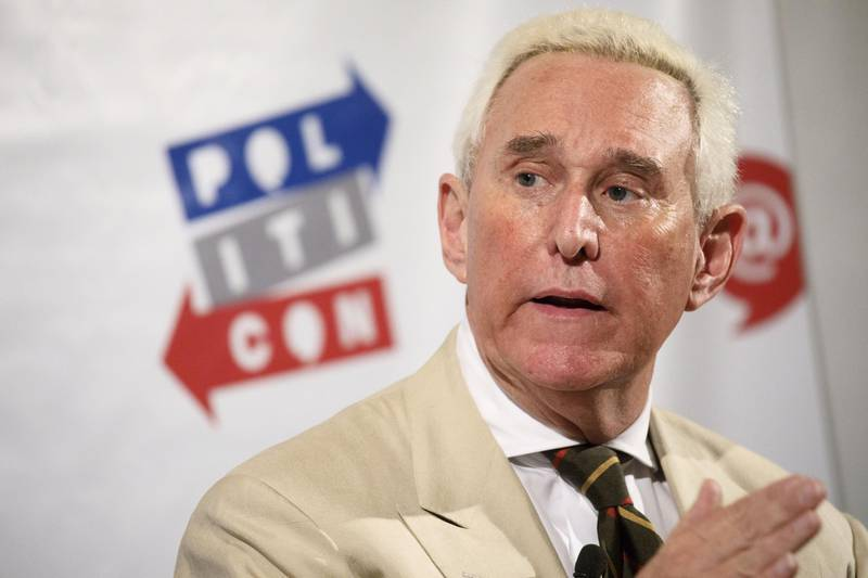 FILE: Roger Stone, former adviser to Donald Trump's presidential campaign, speaks during the Politicon convention inside the Pasadena Convention Center in Pasadena, California, U.S., on Saturday, July 29, 2017. Stone, a longtime Republican strategist and sometime confidant of President Donald Trump, was arrested in Florida on Friday after being indicted in Special Counsel Robert Mueller's probe into possible coordination between the Trump campaign and Russia before the 2016 U.S. election. Stone, 66, is facing seven counts: one count of obstruction of an official proceeding, five counts of false statements, and one count of witness tampering, according to the U.S. Justice Department. Photographer: Patrick T. Fallon/Bloomberg