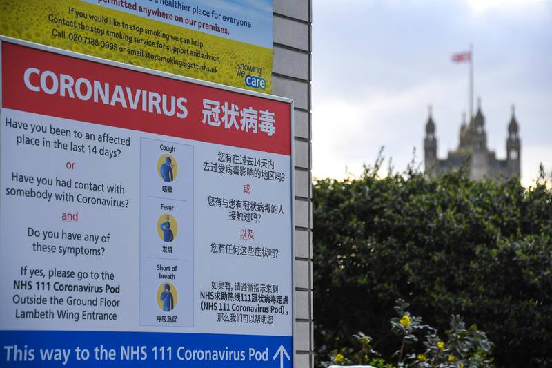 A sign indicating a Coronavirus Pod is seen outside the St Thomas' Hospital, in London, Friday, March 6, 2020. Fearing a possible shortage in protective equipment, health ministers from the European Union are holding an emergency meeting to try to improve their collective response to the novel coronavirus outbreak. (AP Photo/Alberto Pezzali)