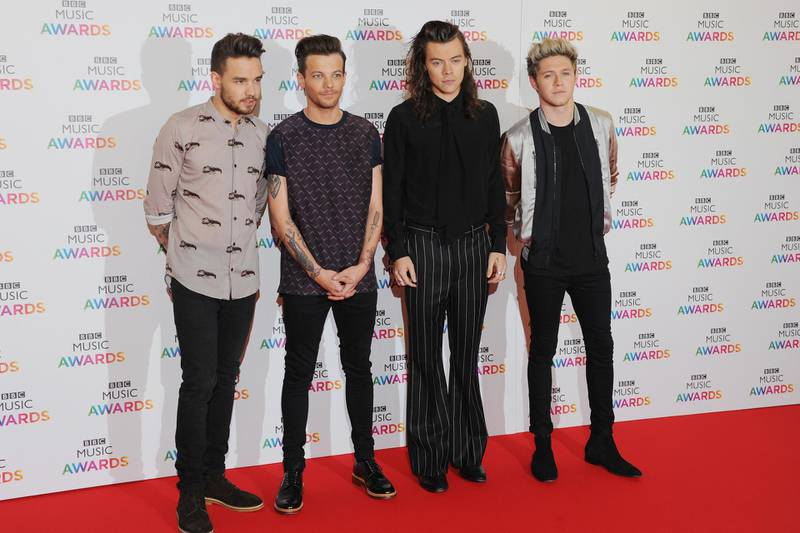 BIRMINGHAM, ENGLAND - DECEMBER 10:  Liam Payne, Louis Tomlinson, Harry Styles and Niall Horan of One Direction attend the BBC Music Awards at Genting Arena on December 10, 2015 in Birmingham, England.  (Photo by Eamonn M. McCormack/Getty Images)