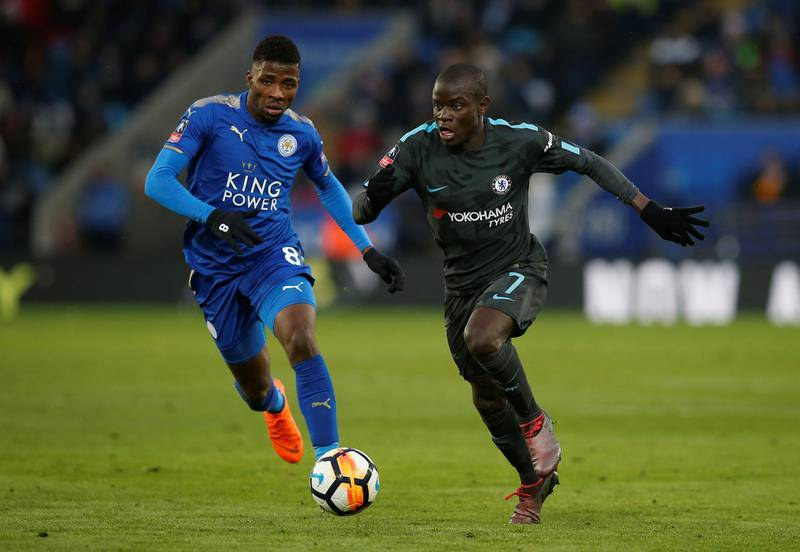 Soccer Football - FA Cup Quarter Final - Leicester City vs Chelsea - King Power Stadium, Leicester, Britain - March 18, 2018   Chelsea's N'Golo Kante in action with Leicester City's Kelechi Iheanacho    REUTERS/Andrew Yates