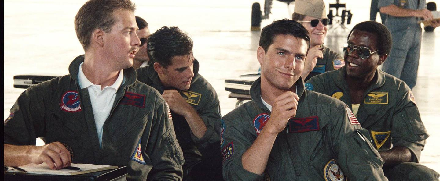 Anthony Edwards and Tom Cruise in a scene from Top Gun. 1986. CREDIT: Courtesy Paramount Pictures? *** Local Caption ***  al02au-Top Gun-p4.jpg