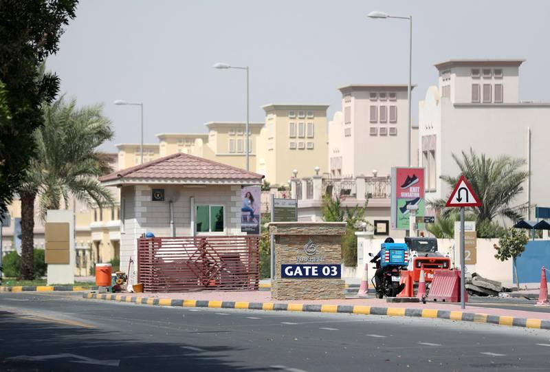 Dubai, United Arab Emirates - July 17, 2018: General View of Gate 03, Jumeirah Village Triangle. Monday, July 17th, 2018 JVT, Dubai. Chris Whiteoak / The National
