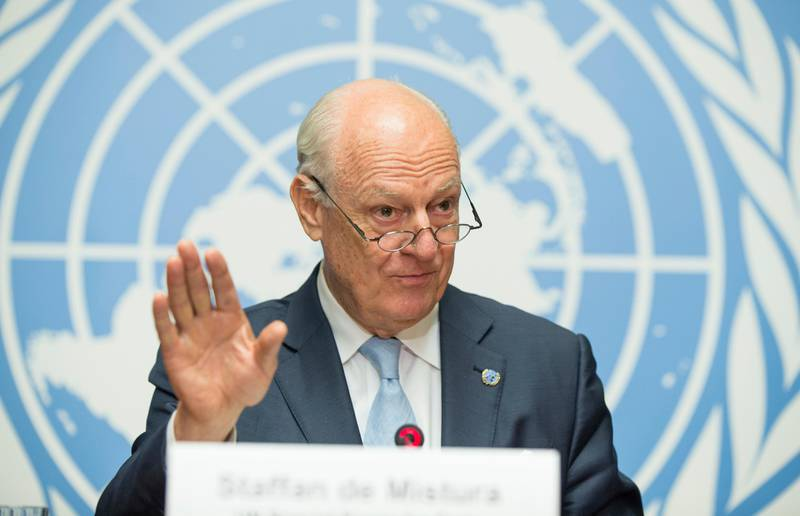 """FILE- In this July 14, 2017, photo, United Nations Special Envoy for Syria Staffan de Mistura speaks at a news conference at Palais des Nations in Geneva, Switzerland. The United Nations' top envoy for Syria says the next round of talks between the government and opposition will take place as soon as """"in about a month"""" and no later than early November. De Mistura said Wednesday, Sept. 27, that both sides should show readiness to negotiate on four key issues: local and central governance, a new constitution, U.N. supervised elections and combating terrorism. (Xu Jinquan/Pool Photo via AP, File)"""