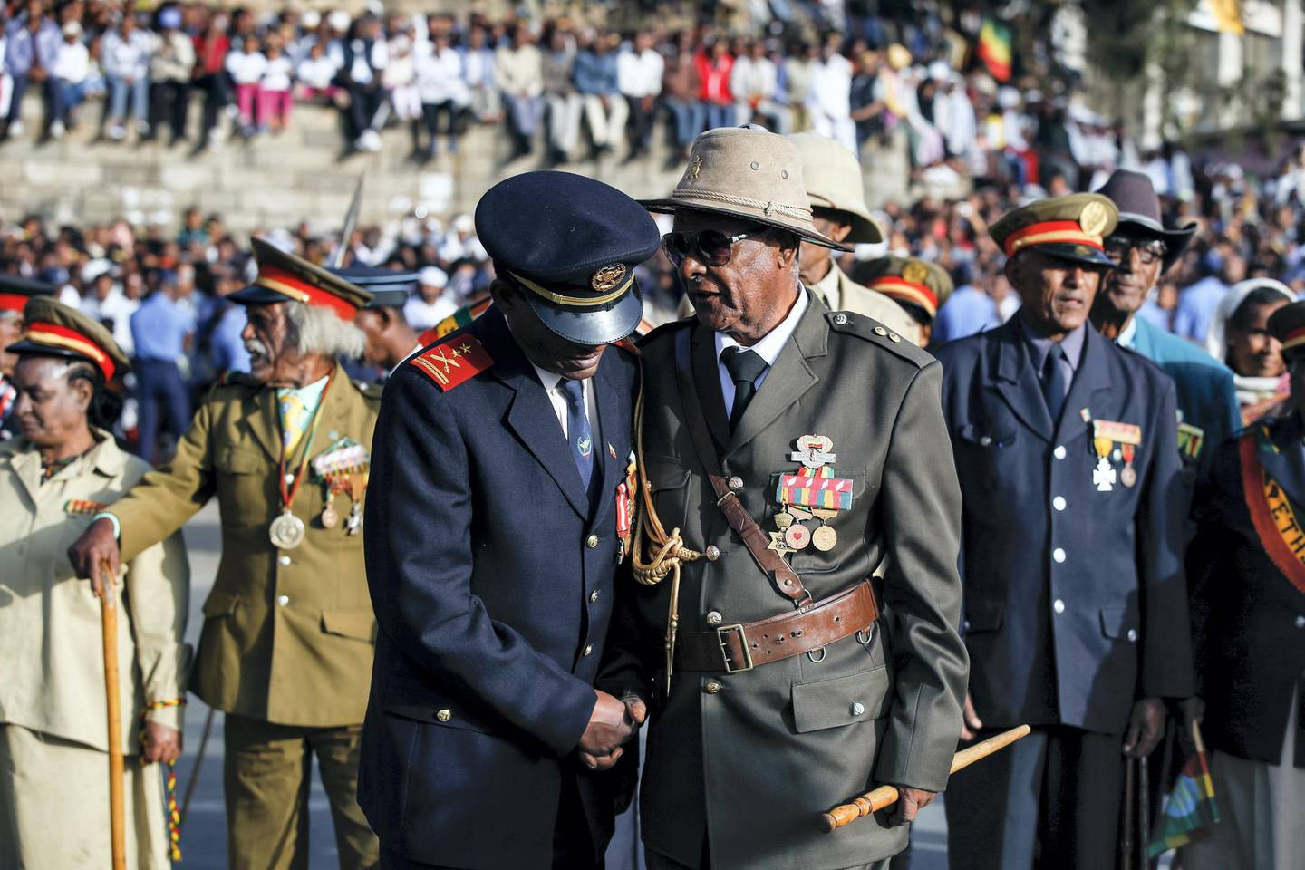 ADDIS ABABA, ETHIOPIA - MARCH 02: Ethiopians attend a parade to mark the 124th anniversary of Battle of Adwa at King II Menelik Square in Addis Ababa, Ethiopia on March 02, 2020. Battle of Adwa is the Ethiopia's victory over Italian forces at the Battle of Adwa, on March 1, 1896. (Photo by Minasse Wondimu Hailu/Anadolu Agency via Getty Images)