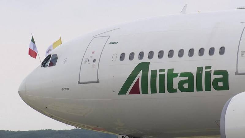 The plane carying Pope Francis is seen ahead of his visit to Iraq at Leonardo da Vinci-Fiumicino Airport in Rome, Italy, March 5, 2021, in this screen grab taken from video. Reuters TV via REUTERS