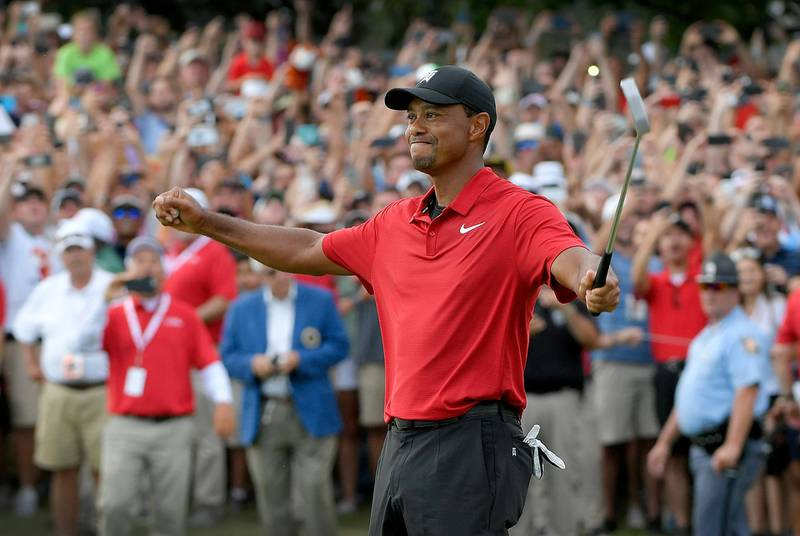 ATLANTA, GA - SEPTEMBER 23: Tiger Woods celebrates his win after the final round of the TOUR Championship at East Lake Golf Club on September 23, 2018, in Atlanta, Georgia. (Photo by Stan Badz/PGA TOUR/Getty Images)