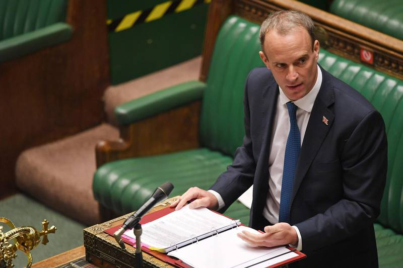 """A handout photograph released by the UK Parliament shows Britain's Foreign Secretary Dominic Raab as he speaks in the House of Commons in London on September 8, 2020.  Iran on Tuesday told Nazanin Zaghari-Ratcliffe, a British-Iranian woman detained in Tehran since 2016, she faces a """"new indictment"""", state media reported. - RESTRICTED TO EDITORIAL USE - MANDATORY CREDIT """" AFP PHOTO / UK PARLIAMENT """" - NO USE FOR ENTERTAINMENT, SATIRICAL, MARKETING OR ADVERTISING CAMPAIGNS - EDITORS NOTE THE IMAGE HAS BEEN DIGITALLY ALTERED AT SOURCE TO OBSCURE VISIBLE DOCUMENTS  / AFP / UK PARLIAMENT / JESSICA TAYLOR / RESTRICTED TO EDITORIAL USE - MANDATORY CREDIT """" AFP PHOTO / UK PARLIAMENT """" - NO USE FOR ENTERTAINMENT, SATIRICAL, MARKETING OR ADVERTISING CAMPAIGNS - EDITORS NOTE THE IMAGE HAS BEEN DIGITALLY ALTERED AT SOURCE TO OBSCURE VISIBLE DOCUMENTS"""