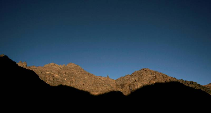 FILE PHOTO: The sun illuminates the Toubkal region near Imlil October 31, 2009. Toubkal peak, the highest point in North Africa at 4,167m (13,671 feet), is visited by thousands of mountaineers throughout the year. Picture taken October 31, 2009. REUTERS/Rafael Marchante/File Photo