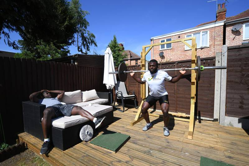PETERBOROUGH, ENGLAND - JUNE 02:  Jamaica Bobsleigh team athletes Shanwayne Stephens (Right) and Nimroy Turgott training on June 02, 2020 in Peterborough, England. (Photo by Shaun Botterill/Getty Images)