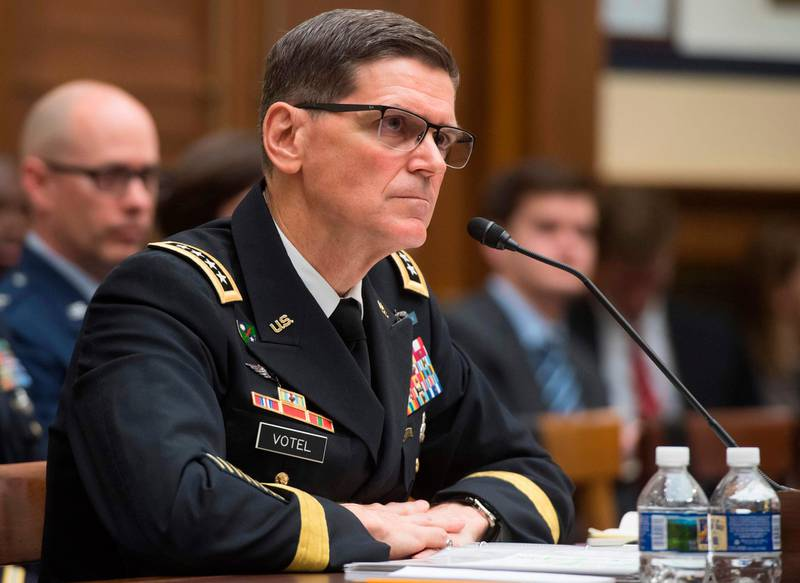 US Army General Joseph Votel, commander of the US Central Command, testifies during a House Armed Services Committee hearing on Capitol Hill in Washington, DC, February 27, 2018. / AFP PHOTO / SAUL LOEB