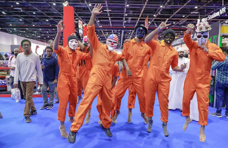 Dubai, April 12, 2019.  MEFCC day 2-Victor Besa/The National.  The Putge charachters action jump for the photographer.Section:  AC  Reporter:  Chris Newbould