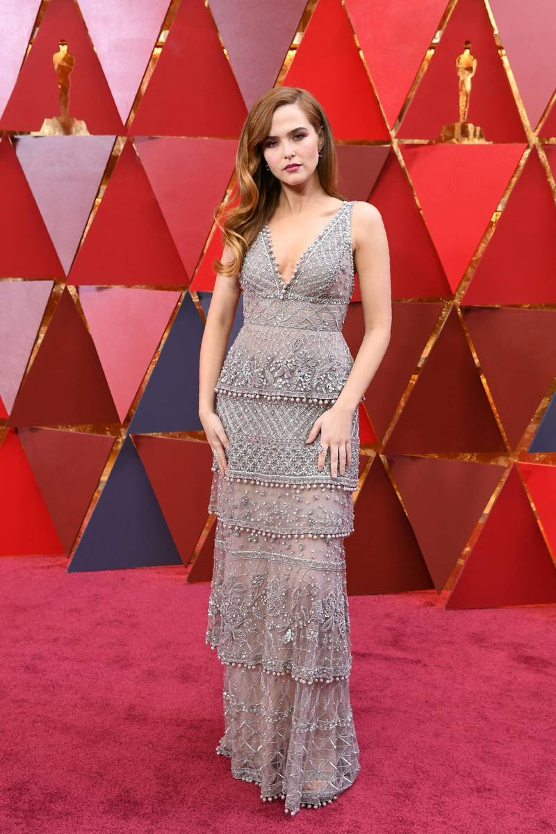 US actress Zoey Deutch arrives for the 90th Annual Academy Awards on March 4, 2018, in Hollywood, California. (Photo by ANGELA WEISS / AFP)