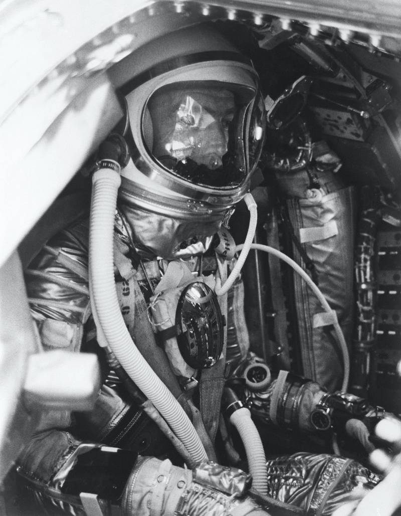 S62-04047 (24 May 1962) --- Close-up of astronaut M. Scott Carpenter inside his Aurora 7 spacecraft before the launch of the Mercury-Atlas 7 (MA-7) mission. Photo credit: NASA